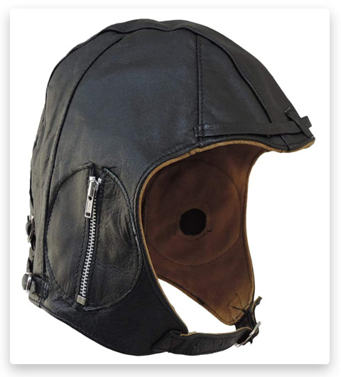 Aviator Motorcycle Cap Vintage WWII Hat (Black Leather)