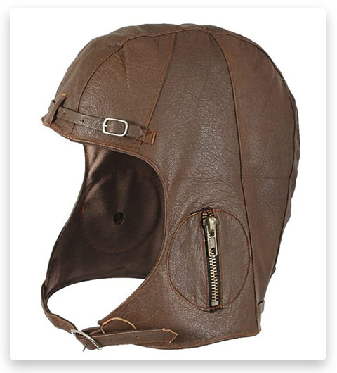 WWII Replica Vintage Aviator Pilot Helmet Cap M/L (Brown Leather)