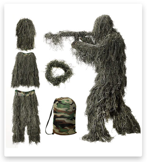 MOPHOTO Ghillie Suit Unisex 5 in 1 (Adults / Kids / Youth)