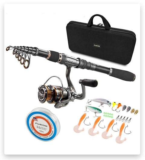 PLUSINNO Telescopic Fishing Rod and Reel Combos Full Kit Carrier Bag Case Accessories
