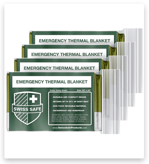 Swiss Safe Emergency Mylar Thermal Blankets (4-Pack)