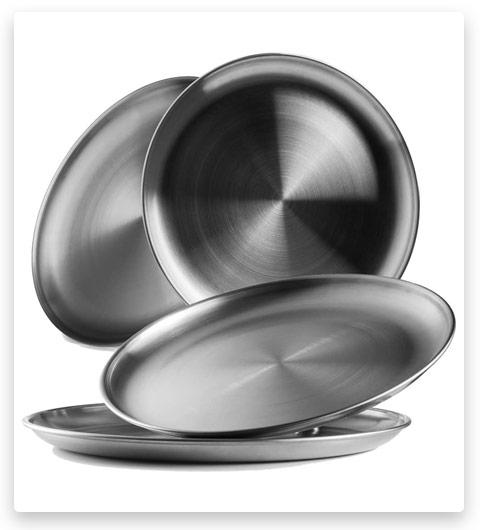 Reusable Brushed Metal 18/8 Dinner Plates (Vintage Quality)