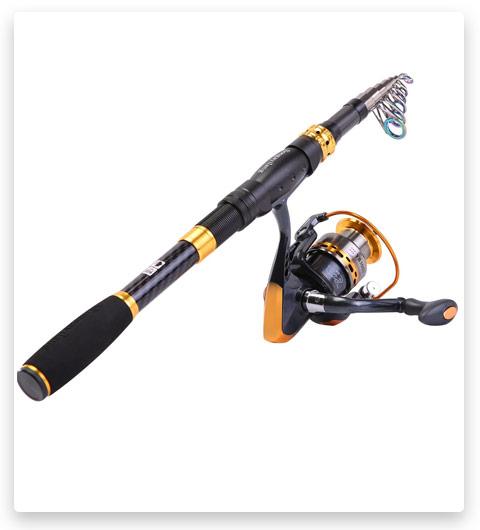 Sougayilang Fishing Rod Reel Combos Carbon Fiber Telescopic Fishing Pole