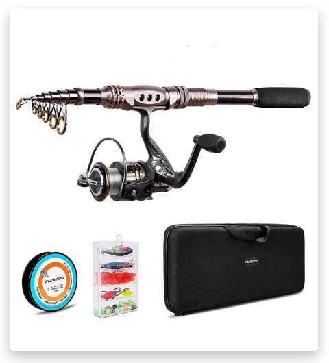 PLUSINNO Fishing Rod and Reel Combos Carbon Fiber Telescopic Fishing Rod