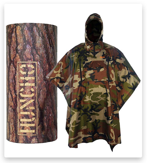 Hunting Rain Poncho with Breathable Zippers and Chest Pocket