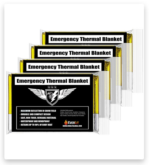 EVERLIT Emergency Thermal Blankets (4-Pack, Survival Blankets)