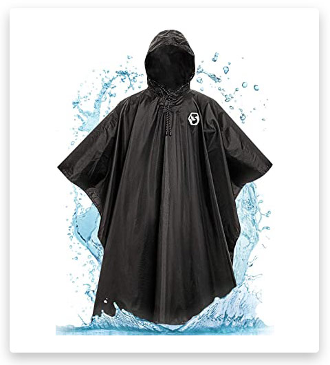 Foxelli Hooded Rain Poncho – Waterproof Emergency Military Ponchos for Adults