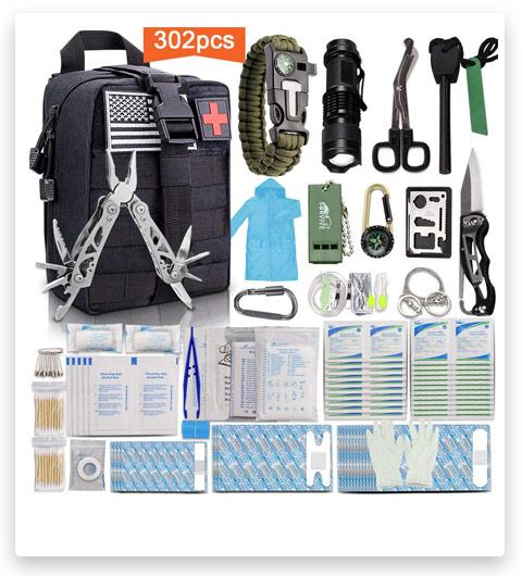 Monoki First Aid Survival Bag, (302Pcs, Tactical Molle)
