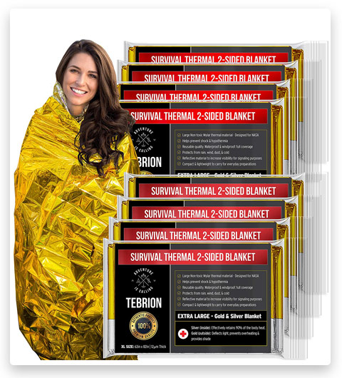 TEBRION 8 Packs Extra Large Space Blankets (Designed for NASA)