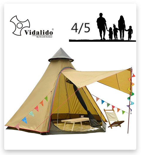 Vidalido Camping Tent for 4-5 people