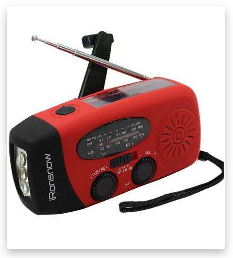 iRonsnow Solar Emergency NOAA Weather Radio Dynamo Hand Crank Self Powered AM FM WB Radios