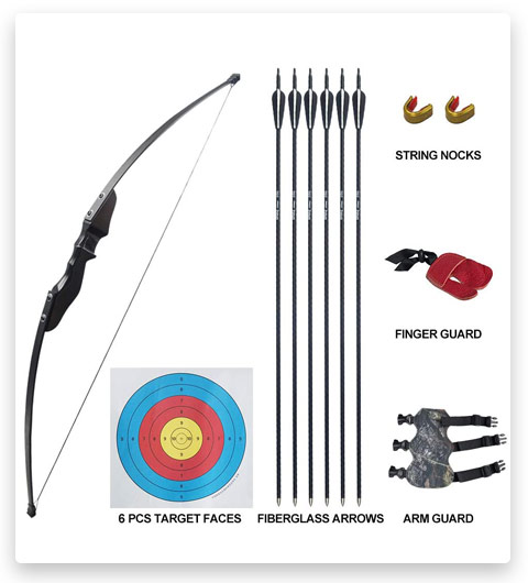 D&Q Archery Takedown Recurve Bow and Arrow Set 35 lbs Longbow