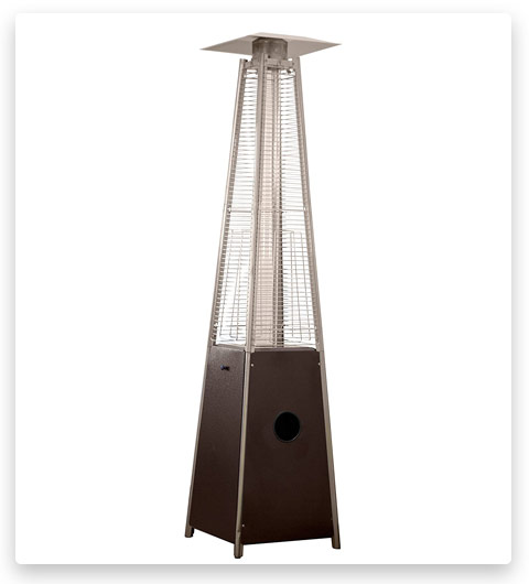 Hiland HLDSO1-WGTHG Pyramid Patio Propane Heater w/Wheels, 87 Inches, Hammered Bronze