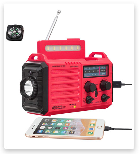 5-Way Powered Weather Radio for Household Outdoor Emergency