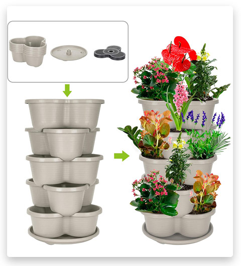 Amazing Creation Stackable Planter Vertical Garden for Growing