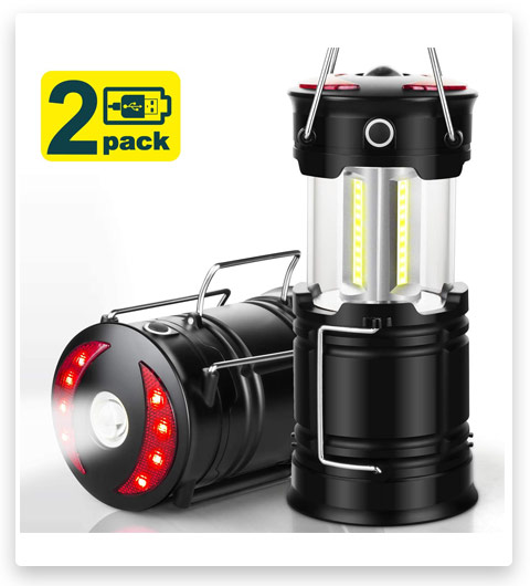 EZORKAS 2 Pack Camping Lanterns (Rechargeable Led Lanterns)