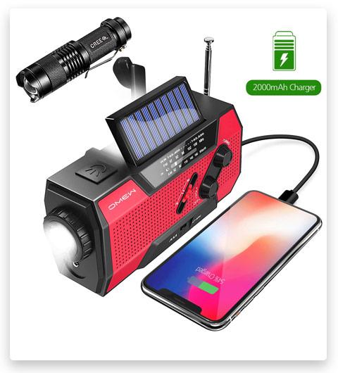 Emergency Weather Radio, Omew Portable Solar Hand Crank NOAA Weather Radio
