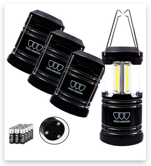 Gold Armour 4 Pack Portable LED Camping Lantern Flashlight with Magnetic Base