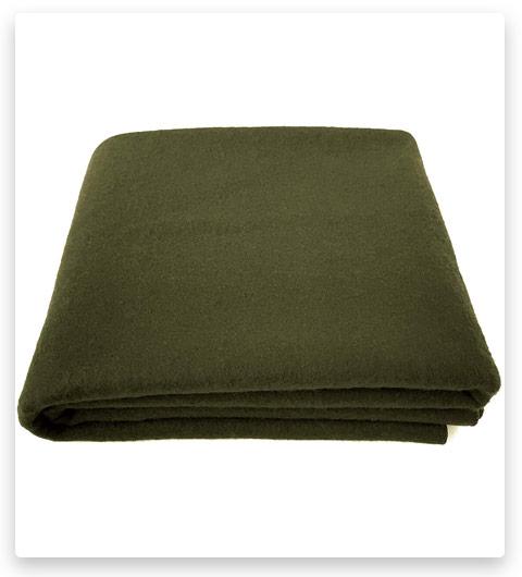 EKTOS 90% Wool Blanket, Olive Green, Warm & Heavy 4.0 lbs