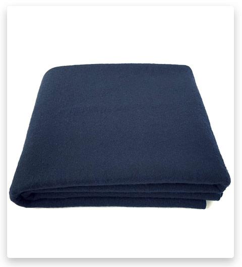 EKTOS 100% Wool Blanket, Navy Blue, Warm & Heavy 5.5 lbs