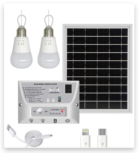 YINGHAO Solar Lights Indoor Home with 2 Hanging LED Bulbs, 5.5W Solar Panel