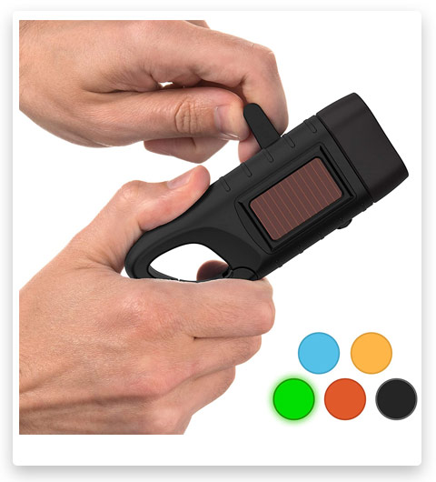 Rechargeable Flashlight with Solar Power & Hand Crank