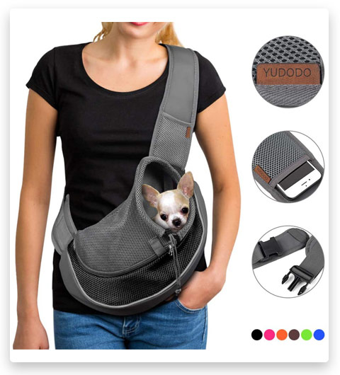 YUDODO Pet Dog Sling Carrier Breathable Mesh Travel Safe (Sling Bag Carrier for Dogs & Cats)