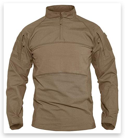 MAGCOMSEN Men's Tactical Shirts 1/4 Zip Long Sleeve Military Shirt