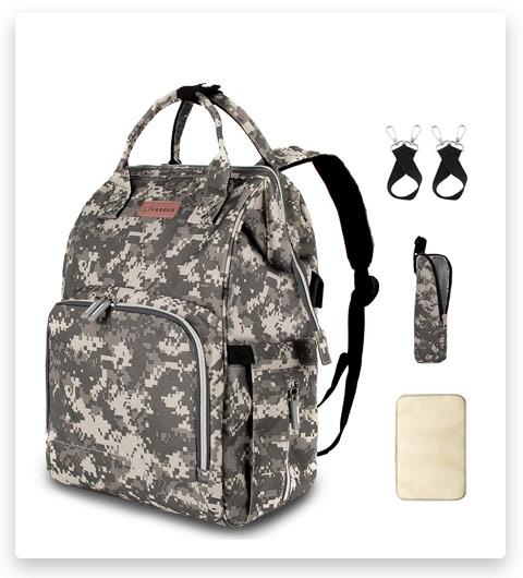 Diaper Bag Backpack with USB Charging Port Stroller Straps