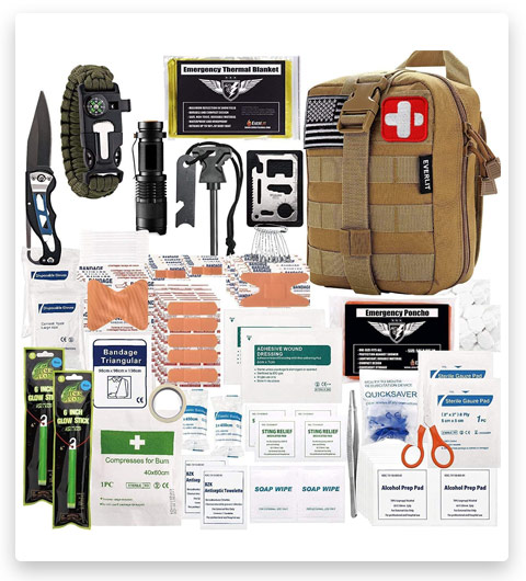 EVERLIT 250 Pieces Survival First Aid Kit (IFAK, Molle System)