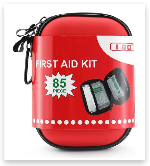 I GO 85 Pieces Hard Shell Mini Compact First Aid Kit