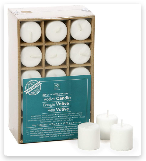 Hosley Set of 30 Unscented Votive Candles White