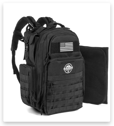 Diaper Bag Backpack by Sager Creek + Daddy Diaper Bag with Changing Pad (Black)