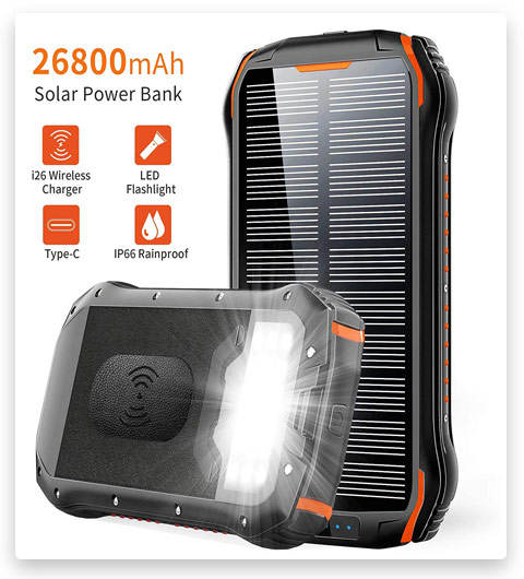 Solar Charger 26800mAh, ORYTO Qi Wireless Portable Solar Power Bank