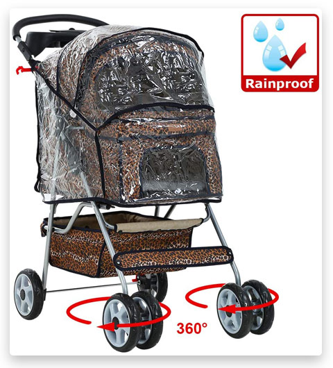 BestPet Pet Stroller Cat Dog Cage Stroller