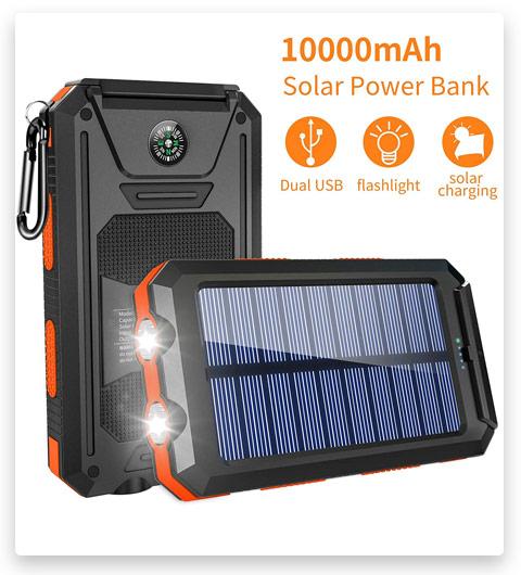 GRDE Solar Charger, 10000mAh Solar Power Bank