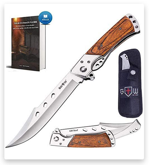 Grand Way Hunting Folding Knife with Rosewood Handle