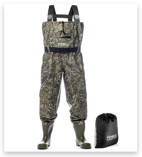 Foxelli Nylon Camo Fishing Chest Waders for Men (with Boots)