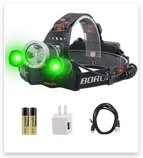 BORUiT RJ-3000 LED Green Headlamp