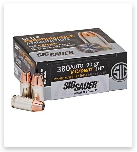 Sig Sauer Elite V-Crown 380 ACP Ammo 90 grain