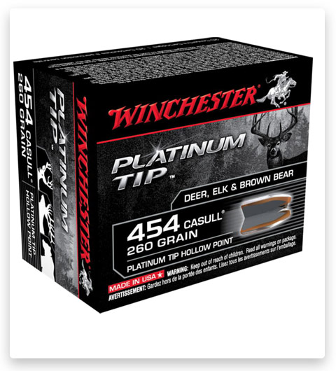 Winchester PLATINUM TIP HOLLOW POINT 454 Casull Ammo 260 grain