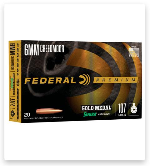 Federal Premium GOLD MEDAL SIERRA MATCHKING 6mm Creedmoor Ammo 107 grain