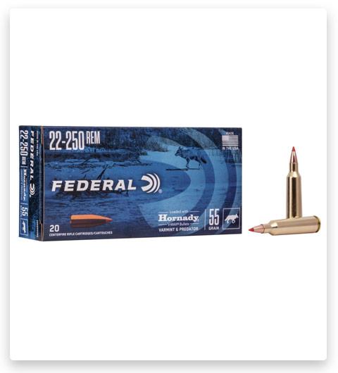 Federal Premium HORNADY V-MAX BULK 22-250 Remington Ammo 55 grain