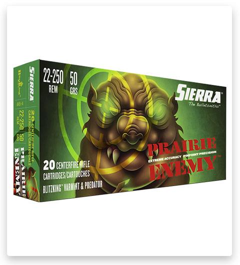 Sierra Prairie Enemy 22-250 Remington Ammo 50 Grain