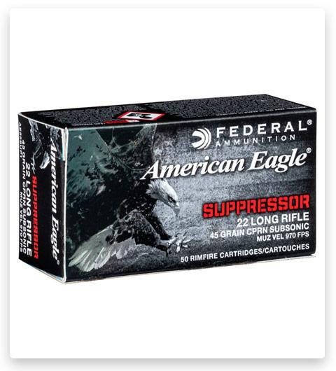Federal Premium American Eagle Rimfire Suppressor 22 Long Rifle Ammo 45 grain