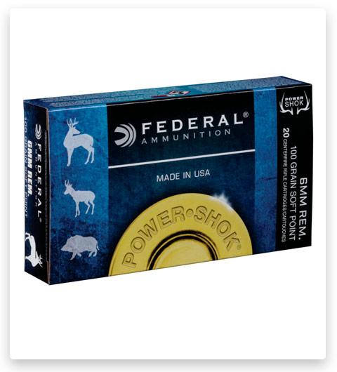 Federal Premium Power-Shok 6mm Remington Ammo 100 grain