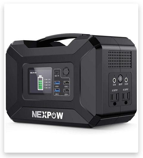 NEXPOW Portable Power Station, 296Wh 80000mAh Solar Generator 110V/300W